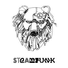 Bear steampunk. Watercolor vector illustration