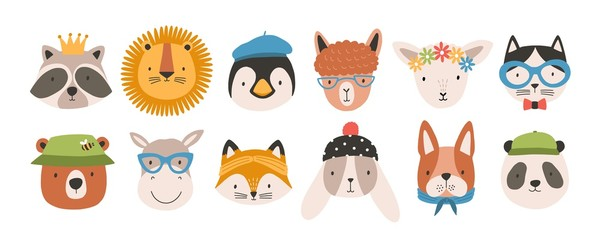 Collection of cute funny animal faces or heads wearing glasses, hats, headbands and wreaths. Set of various cartoon muzzles isolated on white background. Colorful hand drawn vector illustration.
