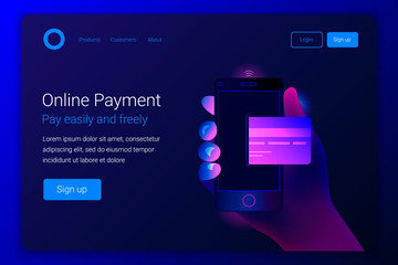 Online mobile payment concept.