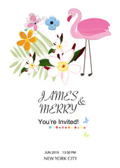Wedding invitation card. Flamingo theme. Tropical flowers. Baby shower, Summer party card. Floral background greeting