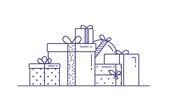 Holiday gift boxes wrapped in paper and decorated with ribbons and bows. Pile of packed festive presents drawn with contour lines on white background. Monochrome vector illustration in lineart style.