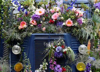 A floral display is seen on a Citroen H-Van at the RHS Chelsea Flower Show in London, Britain