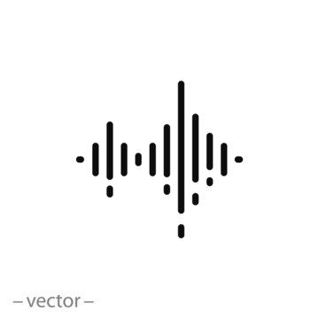 sound icon, line sign - vector illustration eps10
