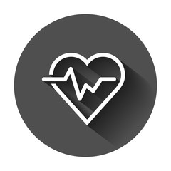 Heartbeat line with heart icon in flat style. Heartbeat illustration with long shadow. Heart rhythm concept.