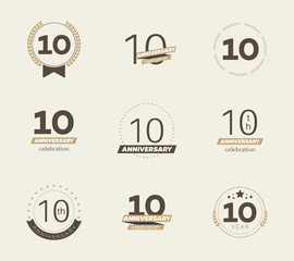 10 years anniversary logo set. Vector illustration.