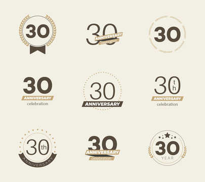 30 years anniversary logo set. Vector illustration.
