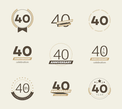 40 years anniversary logo set. Vector illustration.