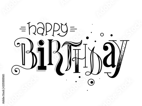 Happy Birthday Hand Lettering Card Stockfotos Und Lizenzfreie