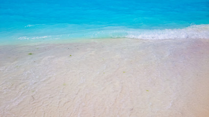 Turquoise water, white beach, natural background