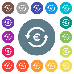 Euro pay back flat white icons on round color backgrounds