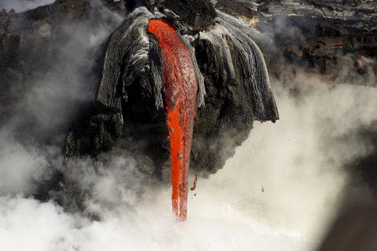 Lava entering the ocean, Big Island, Hawaii