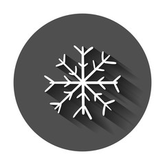 Hand drawn snowflake vector icon. Snow flake sketch doodle illustration with long shadow. Handdrawn winter christmas concept.
