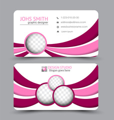 Business card set template for business identity corporate style. Vector illustration. Red and pink color.