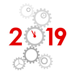 New Year 2019 concept - clock
