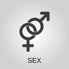 Sex icon. Sex symbol. Flat design. Stock - Vector illustration