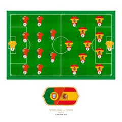 Football match Portugal versus Spain.