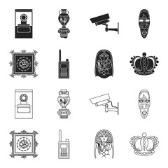 Picture, sarcophagus of the pharaoh, walkie-talkie, crown. Museum set collection icons in black,outline style vector symbol stock illustration web.