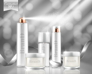Vector 3f realistic promotion banner with glass sprays, jars of cosmetic, gel, cream. Transparent bottles isolated on background. Skincare, beauty product for skin treatment. Mockup, template