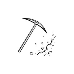 Pickaxe chisel hand drawn outline doodle icon. Pick as mining industry concept vector sketch illustration for print, web, mobile and infographics isolated on white background.