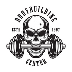 Vintage monochrome bodybuilding logo template