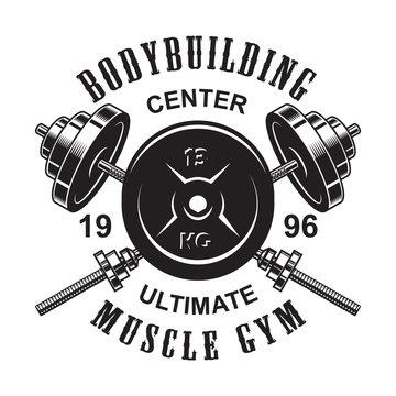 Vintage monochrome fitness logo template