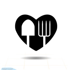 Garden heart vector black icon, Love symbol. Shovel and pitchfork in heart. Valentines day sign, emblem, Flat style for graphic and web design, logo illustration Spade on white background