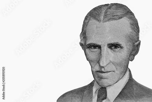 Portrait Of Nikola Tesla Famous Inventor On Banknote Former