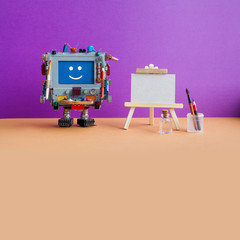 Studio drawing visual arts poster template. Smiley robot with artist tools, wooden easel, palette brushes pencils. Violet wall, brown floor background. Empty textured paper for drawing. Copy space