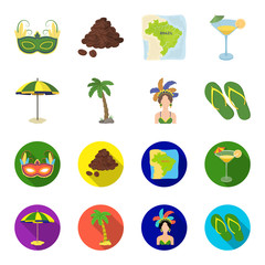 Brazil, country, umbrella, beach . Brazil country set collection icons in cartoon,flat style vector symbol stock illustration web.