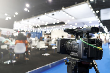 Behind the film shooting video,movie on digital camera. Taking photo,cinema broadcast television,show production maker of events, convention or exhibition. Expo news with footage equipment concept.