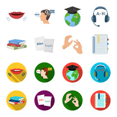 A pile of books in different languages, sheets of paper with translation, a gesture of deaf mutes, a notebook with text. Interpreter and translator set collection icons in cartoon,flat style vector