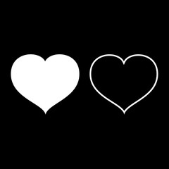 Heart with end icon set white color