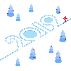 New Year 2019 concept - skier