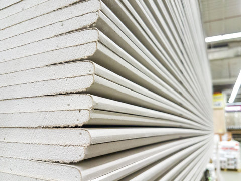 The stack of gypsum board preparing for construction