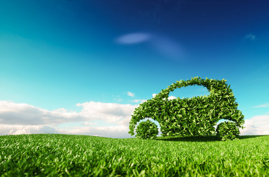 Eco friendly car development, clear ecology driving, no pollution and emmission transportation concept. 3d rendering of green car icon on fresh spring meadow with blue sky in background.