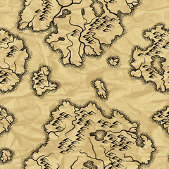 Seamless pattern with old nautical map.