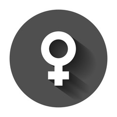 Female sex symbol vector icon in flat style. Women gender illustration with long shadow. Girl masculine business concept.