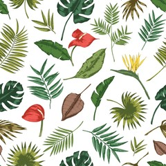 Gorgeous botanical seamless pattern with tropical foliage. Backdrop with leaves of jungle plants and exotic palm branches. Natural realistic vector illustration for textile print, wrapping paper.