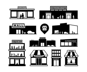 Shopping mall buildings icons. Store exteriors with people pictograms. Shop houses with shoppers vector symbols isolated