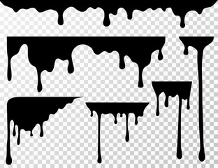 Black dripping oil stain, liquid drips or paint current vector ink silhouettes isolated