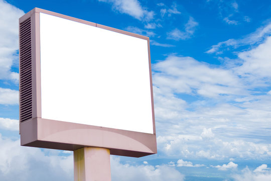 LED billboard isolated on cloudy sky  background