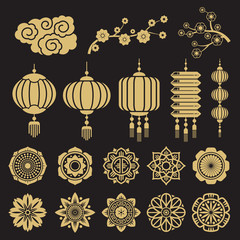 Traditional chinese and japanese decorative design vector elements isolated on black background