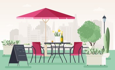 Sidewalk cafe or restaurant with table, chairs, umbrella, potted plants and welcome board standing on street against city buildings on background. Colored vector illustration in cartoon flat style.