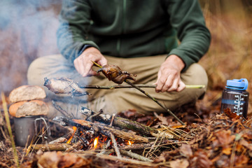 quail on the stick grilled in the fire. delicious forest picnic. bushcraft concept
