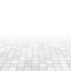 White and gray marble tiles on bathroom floor. Rectangle tiles in perspective grid. Abstract vector background
