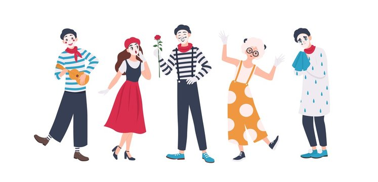 Collection of male and female mimes isolated on white background. Set of people acting out stories through body motions. Bundle of performance artists or performers. Flat cartoon vector illustration.