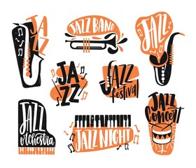 Collection of jazz music lettering written with creative font and decorated with various musical instruments isolated on white background - piano, drums, saxophone, trumpet. Vector illustration.