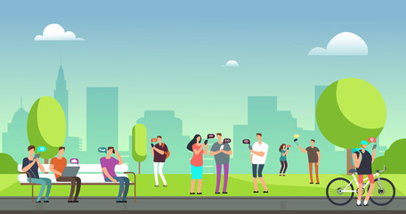 Young people using smartphones and tablets walking outdoors in park. Mobile internet addiction vector concept