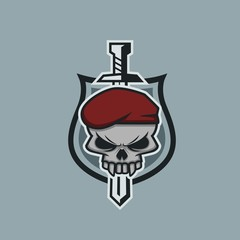 skull army sword and shield