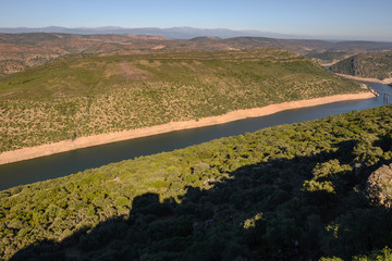 Tagus river in National Park of Monfrague, seen from the Castle, Caceres province, Spain
